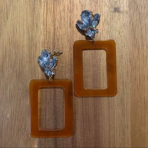 Tortoise Shell Acrylic Square Dangle Earrings